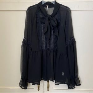 Free People Sheer Lace Trim Black Blouse Small